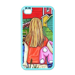 Blue Door And Stuffed Bunny Apple Iphone 4 Case (color) by reillysart