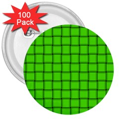 Bright Green Weave 3  Button (100 Pack) by BestCustomGiftsForYou