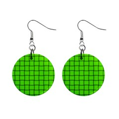 Bright Green Weave Mini Button Earrings by BestCustomGiftsForYou