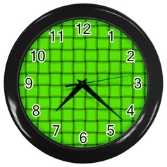 Bright Green Weave Wall Clock (black) by BestCustomGiftsForYou