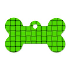 Bright Green Weave Dog Tag Bone (one Sided) by BestCustomGiftsForYou