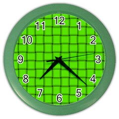 Bright Green Weave Wall Clock (color) by BestCustomGiftsForYou