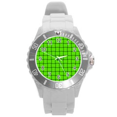 Bright Green Weave Plastic Sport Watch (large) by BestCustomGiftsForYou