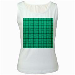 Caribbean Green Weave Womens  Tank Top (white) by BestCustomGiftsForYou