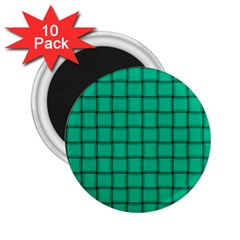 Caribbean Green Weave 2 25  Button Magnet (10 Pack) by BestCustomGiftsForYou