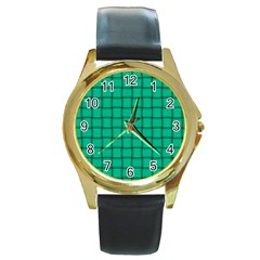 Caribbean Green Weave Round Metal Watch (gold Rim)  by BestCustomGiftsForYou