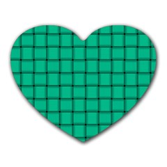 Caribbean Green Weave Mouse Pad (heart) by BestCustomGiftsForYou