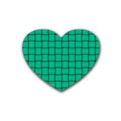 Caribbean Green Weave Drink Coasters (heart)