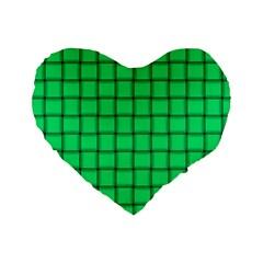 Spring Green Weave 16  Premium Heart Shape Cushion  by BestCustomGiftsForYou