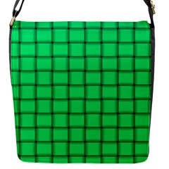 Spring Green Weave Flap Closure Messenger Bag (small) by BestCustomGiftsForYou