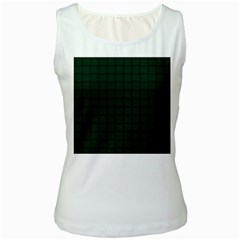 Dark Green Weave Womens  Tank Top (white) by BestCustomGiftsForYou