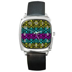 Cmyk Damask Flourish Pattern Square Leather Watch by DDesigns
