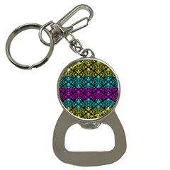Cmyk Damask Flourish Pattern Bottle Opener Key Chain by DDesigns