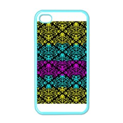 Cmyk Damask Flourish Pattern Apple Iphone 4 Case (color) by DDesigns