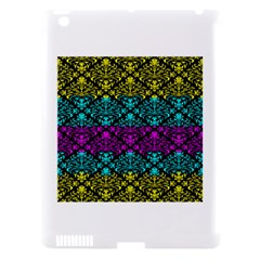 Cmyk Damask Flourish Pattern Apple Ipad 3/4 Hardshell Case (compatible With Smart Cover) by DDesigns