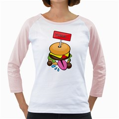 Burgeryumm Womens  Long Sleeve Raglan T Shirt (white) by Walands