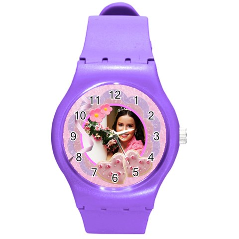 Cookie Hearts Watch By Ivelyn   Round Plastic Sport Watch (m)   124y2eoc67g3   Www Artscow Com Front