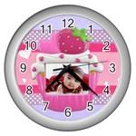 cupcake frame 2 clock - Wall Clock (Silver)