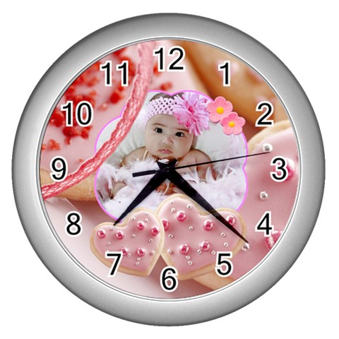 Cookie Hearts Clock By Ivelyn   Wall Clock (silver)   V81h115gcsi7   Www Artscow Com Front