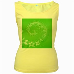 10   Light Green Flowers Womens  Tank Top (yellow) by BestCustomGiftsForYou
