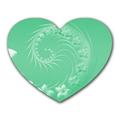 10   Light Green Flowers Mouse Pad (heart) by BestCustomGiftsForYou