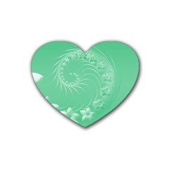 10   Light Green Flowers Drink Coasters 4 Pack (heart)  by BestCustomGiftsForYou