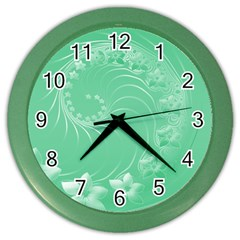 10   Light Green Flowers Wall Clock (color) by BestCustomGiftsForYou