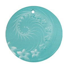 Cyan Abstract Flowers Round Ornament