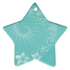 Cyan Abstract Flowers Star Ornament by BestCustomGiftsForYou