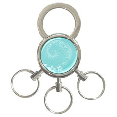Cyan Abstract Flowers 3 Ring Key Chain by BestCustomGiftsForYou