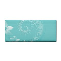 Cyan Abstract Flowers Hand Towel by BestCustomGiftsForYou