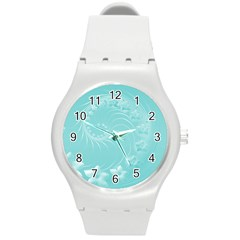 Cyan Abstract Flowers Plastic Sport Watch (medium) by BestCustomGiftsForYou