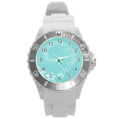 Cyan Abstract Flowers Plastic Sport Watch (large) by BestCustomGiftsForYou