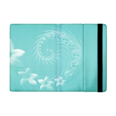 Cyan Abstract Flowers Apple Ipad Mini Flip Case by BestCustomGiftsForYou