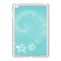 Cyan Abstract Flowers Apple Ipad Mini Case (white) by BestCustomGiftsForYou