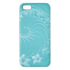 Cyan Abstract Flowers Iphone 5 Premium Hardshell Case by BestCustomGiftsForYou