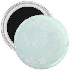 Pastel Green Abstract Flowers 3  Button Magnet by BestCustomGiftsForYou