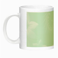 Pastel Green Abstract Flowers Glow In The Dark Mug by BestCustomGiftsForYou