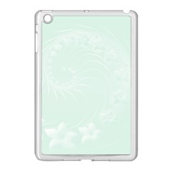 Pastel Green Abstract Flowers Apple Ipad Mini Case (white) by BestCustomGiftsForYou