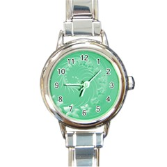 Light Green Abstract Flowers Round Italian Charm Watch by BestCustomGiftsForYou
