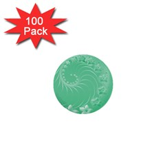 Light Green Abstract Flowers 1  Mini Button (100 Pack) by BestCustomGiftsForYou
