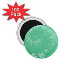 Light Green Abstract Flowers 1 75  Button Magnet (100 Pack) by BestCustomGiftsForYou