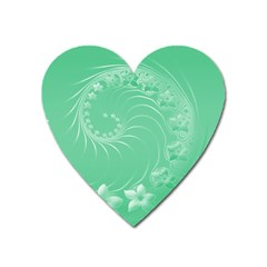 Light Green Abstract Flowers Magnet (heart) by BestCustomGiftsForYou