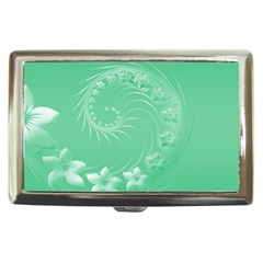 Light Green Abstract Flowers Cigarette Money Case by BestCustomGiftsForYou