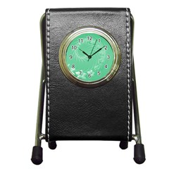 Light Green Abstract Flowers Stationery Holder Clock by BestCustomGiftsForYou