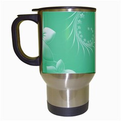 Light Green Abstract Flowers Travel Mug (white) by BestCustomGiftsForYou