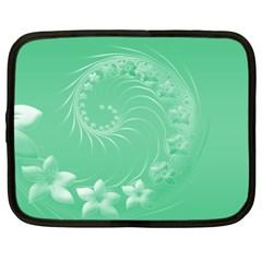 Light Green Abstract Flowers Netbook Case (xxl) by BestCustomGiftsForYou