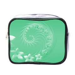 Light Green Abstract Flowers Mini Travel Toiletry Bag (one Side) by BestCustomGiftsForYou