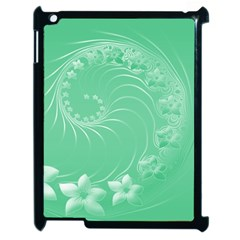 Light Green Abstract Flowers Apple Ipad 2 Case (black) by BestCustomGiftsForYou