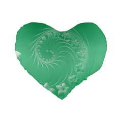Light Green Abstract Flowers 16  Premium Heart Shape Cushion  by BestCustomGiftsForYou